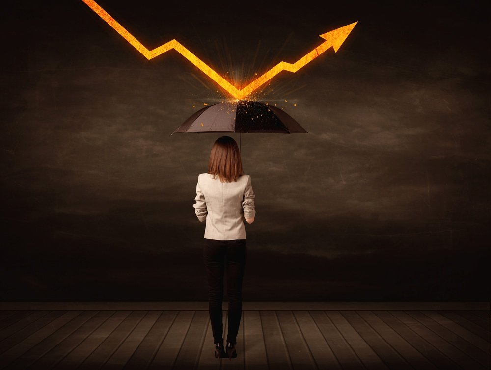 Businesswoman standing with umbrella keeping orange arrow concept on background-1